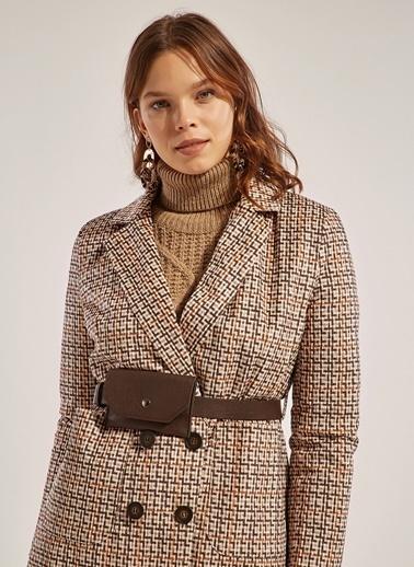 Monamoda Ekose Desen Kadife Blazer Ceket Taş